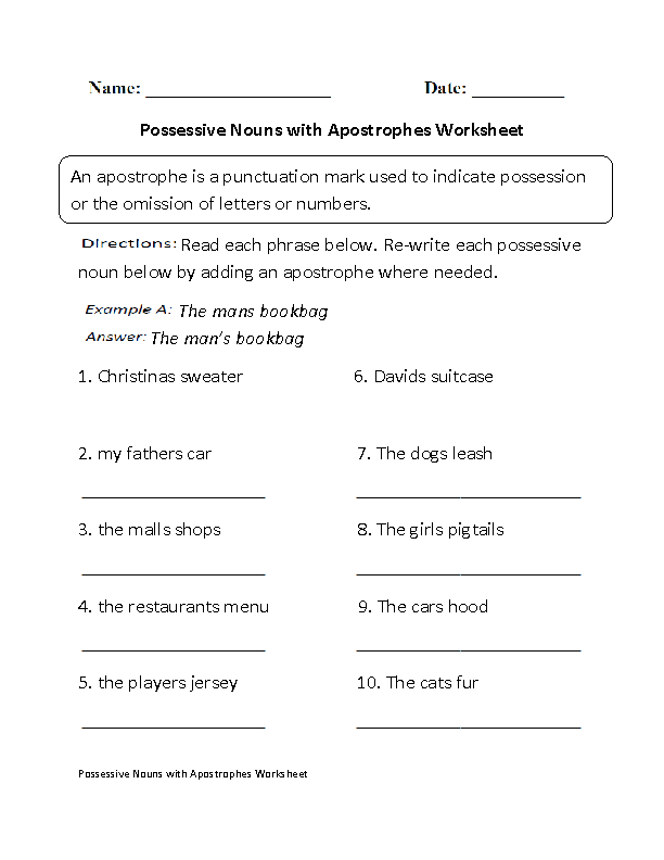 Possessive Nouns with Apostrophes Worksheet
