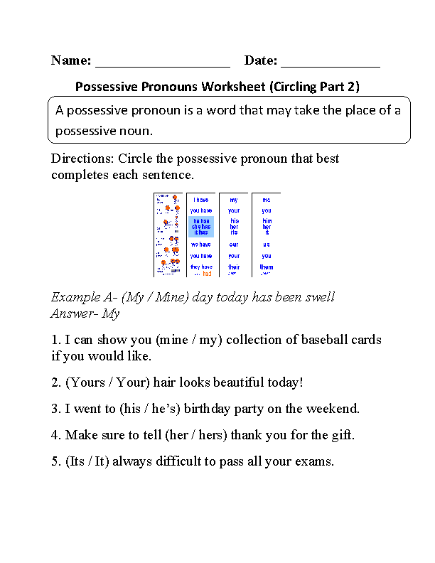 Pronouns Worksheets – Possessive Pronouns Worksheets