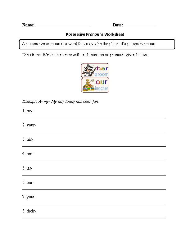 Printables Possessive Pronouns Worksheet pronouns worksheets possessive worksheet