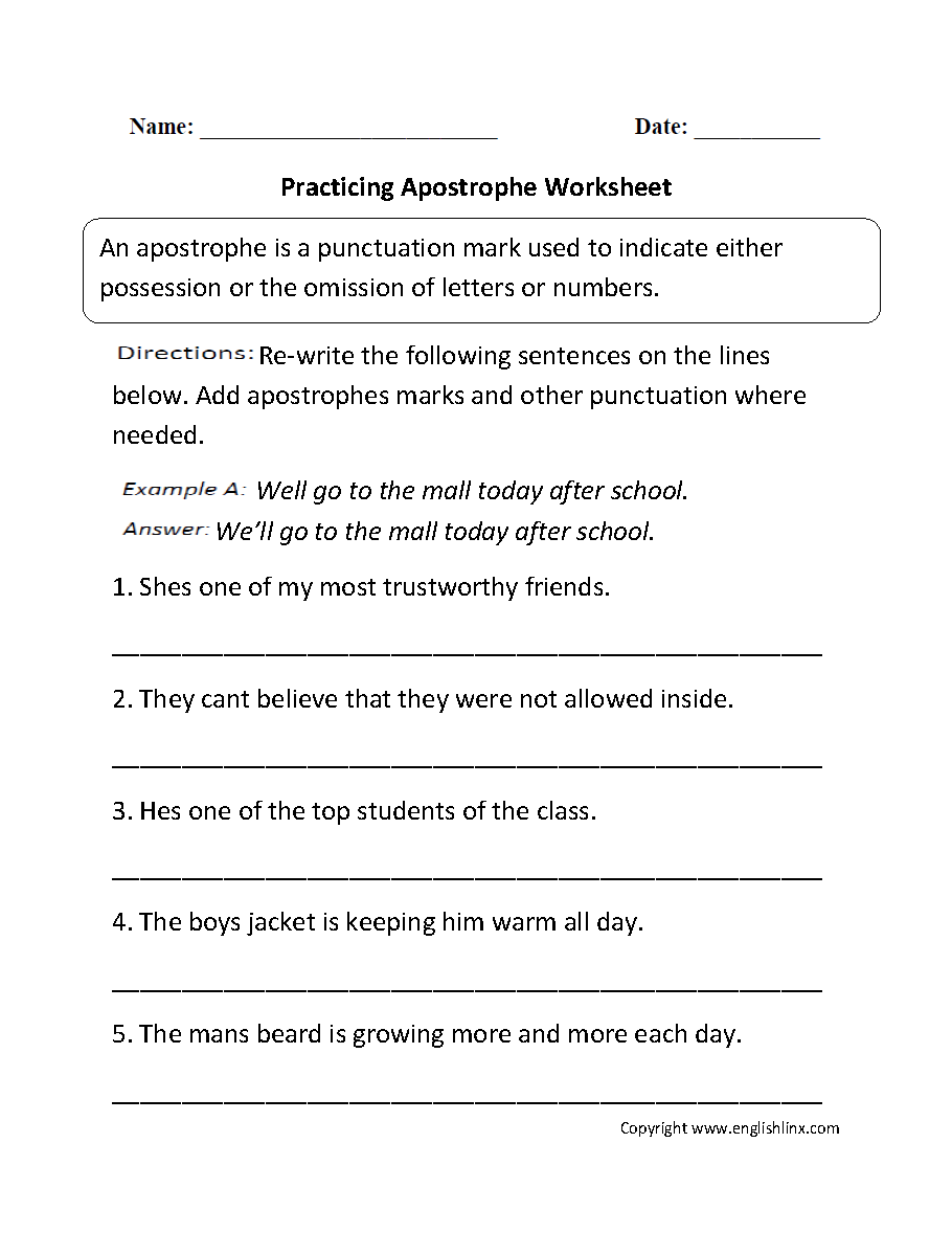 Apostrophe worksheets 6th grade