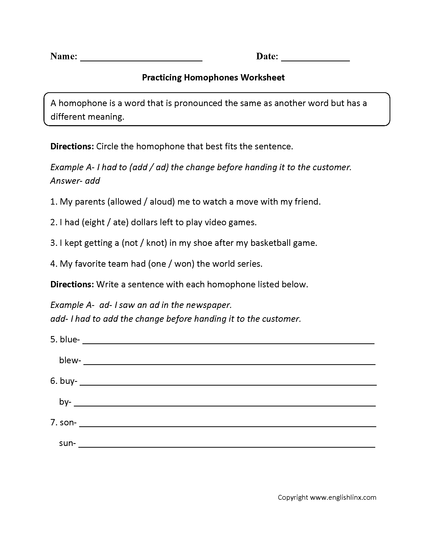 Vocabulary Worksheets | Homophone Worksheets