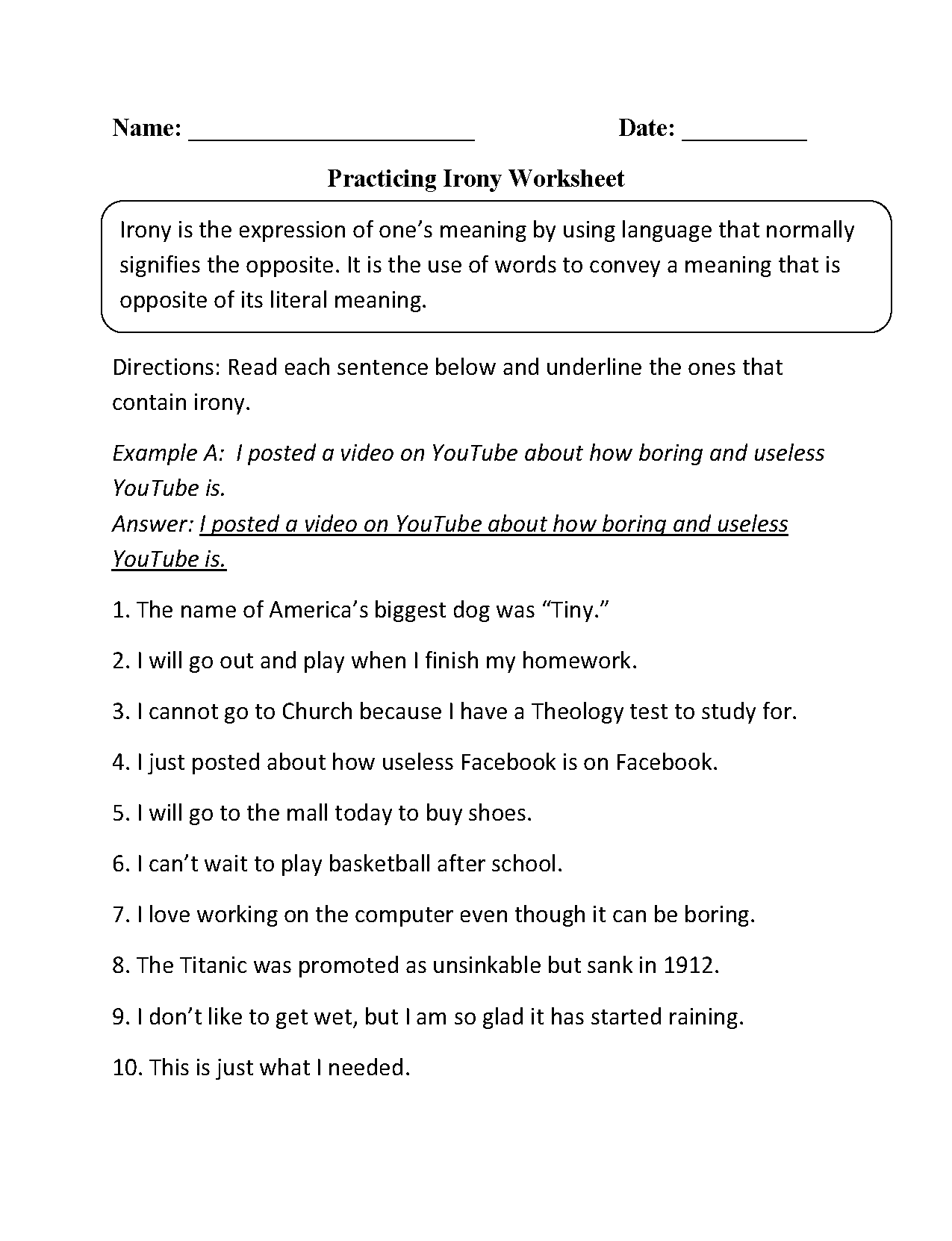 Figurative Language Worksheets – Identifying Irony Worksheet Answers