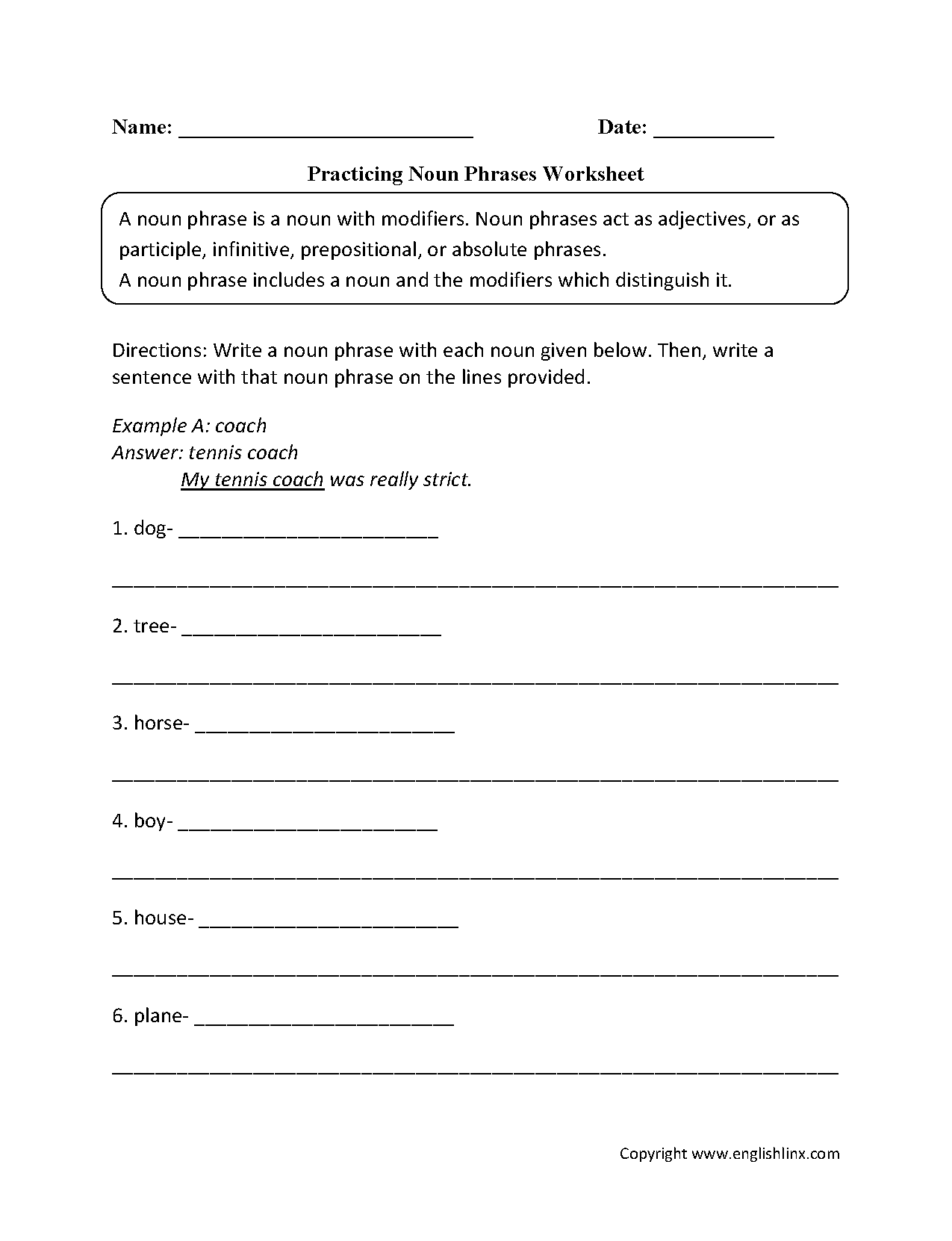 Nouns Worksheets Noun Phrases Worksheets