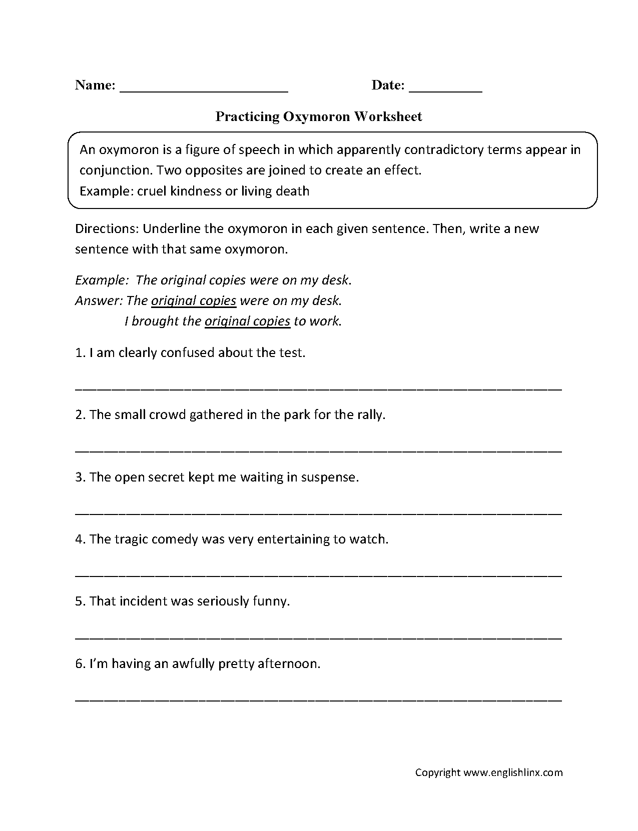 worksheet Act English Practice Worksheets figurative language worksheets oxymoron practicing onomatopoeia worksheet