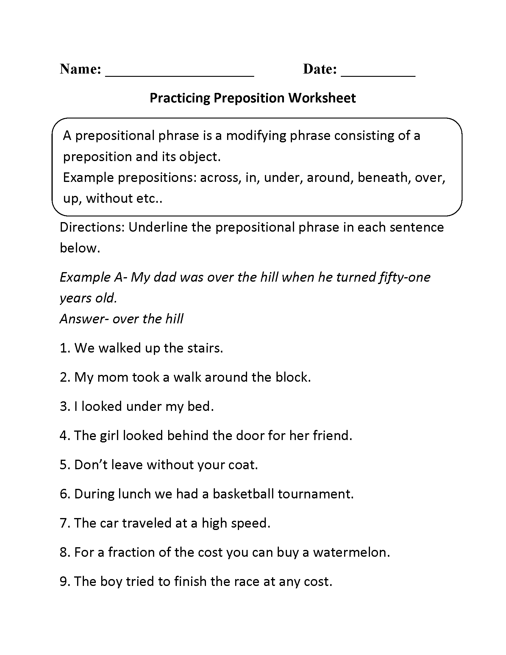 Free Worksheet Identifying Parts Of Speech Worksheet parts speech worksheets preposition worksheet