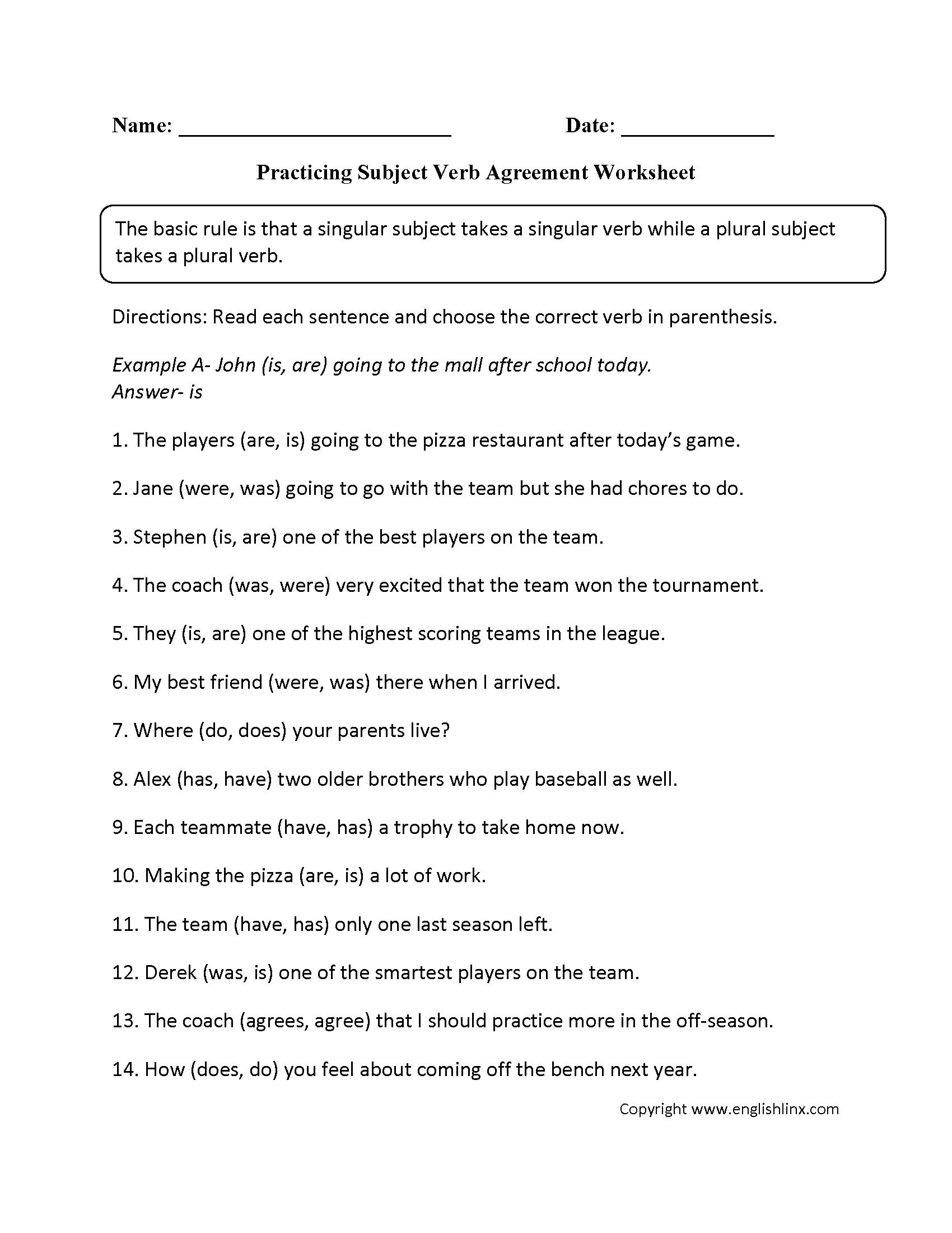 Word Usage Worksheets – Subject Verb Agreement Practice Worksheets