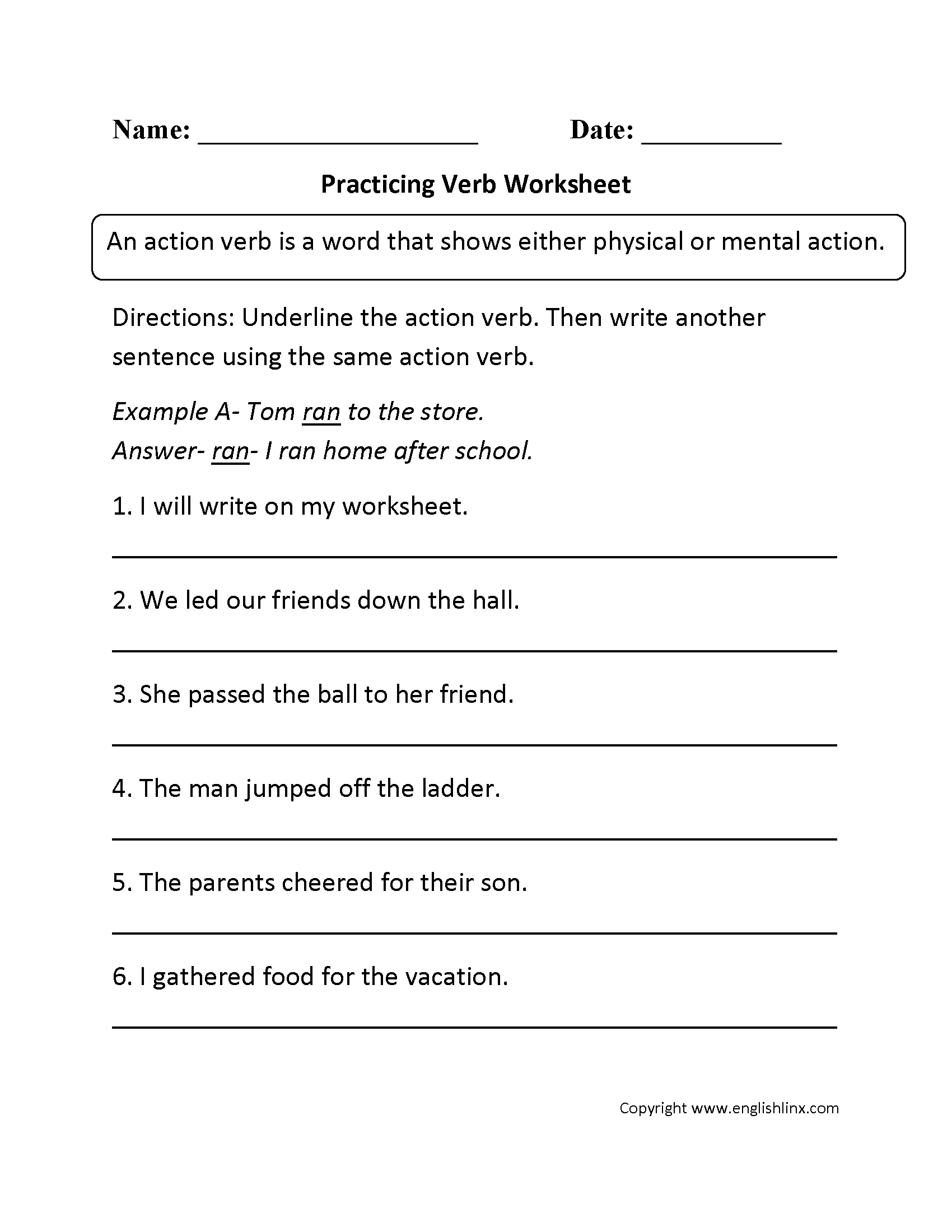 Worksheets Linking Verb Worksheets parts speech worksheets verb beginner worksheets