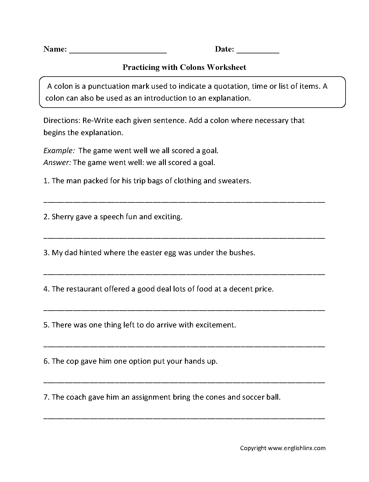 worksheet Semicolon And Colon Worksheet punctuation worksheets colon practicing with worksheets