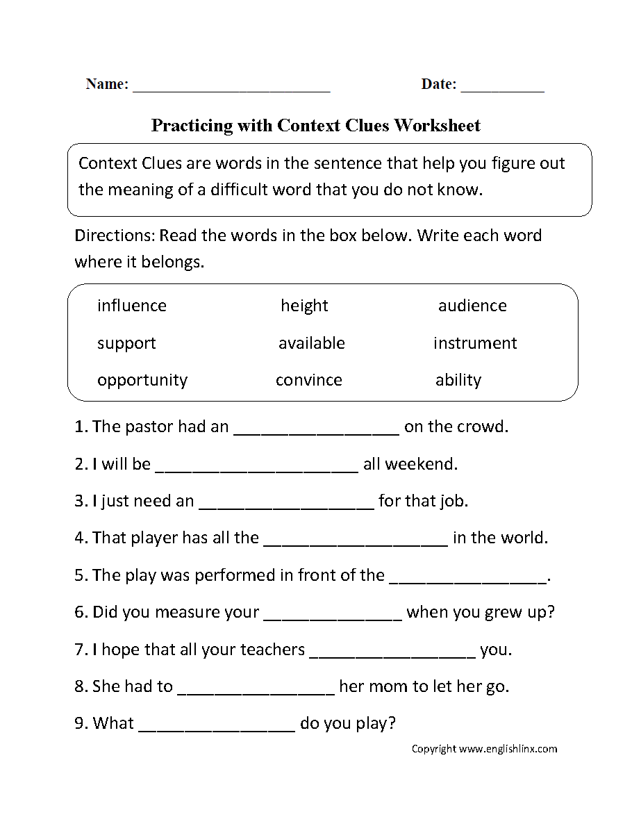 Reading Vocabulary Worksheets : Context clues practice worksheets th grade ideas