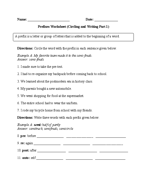 Circling and Writing Prefixes Worksheets