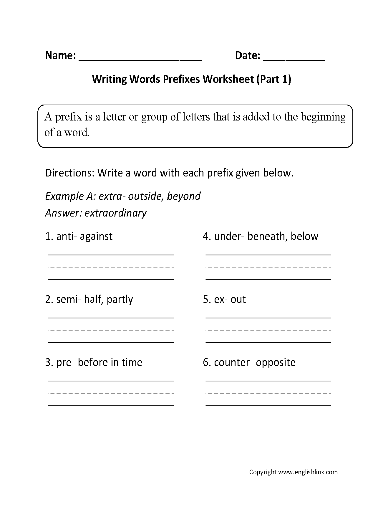 Englishlinx Com Prefixes Worksheets