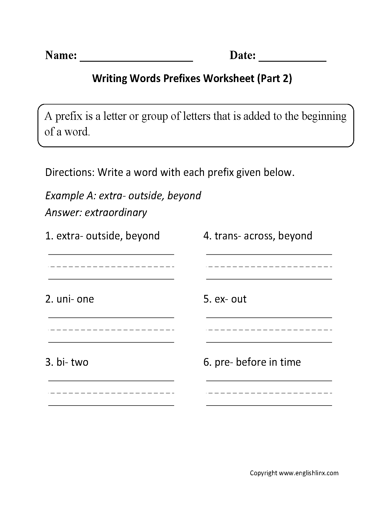 worksheet Parts Of A Letter Worksheet englishlinx com prefixes worksheets worksheet part 2