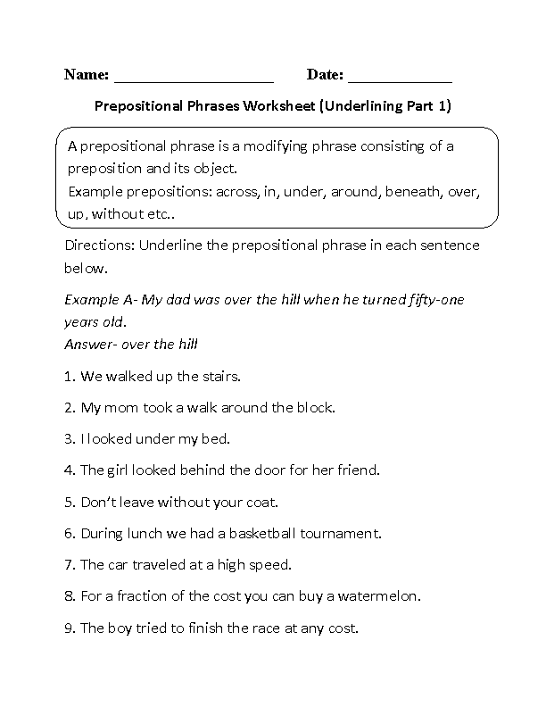 Underlining Prepositional Phrase Worksheet Part 1