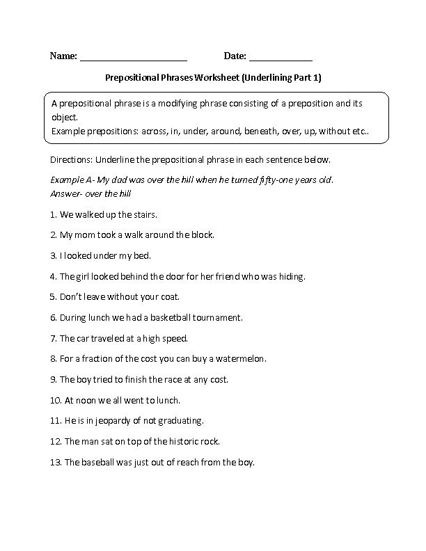 Prepositions Worksheets | Underlining Prepositional Phrase Worksheet