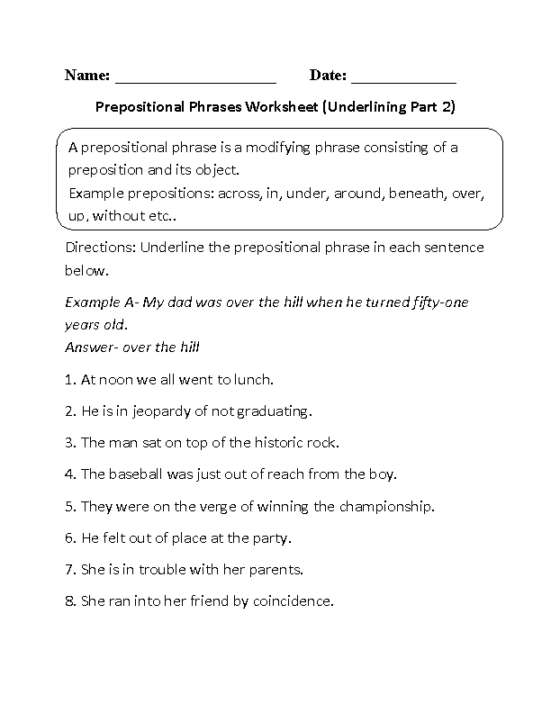 Underlining Prepositional Phrase Worksheets Part 2