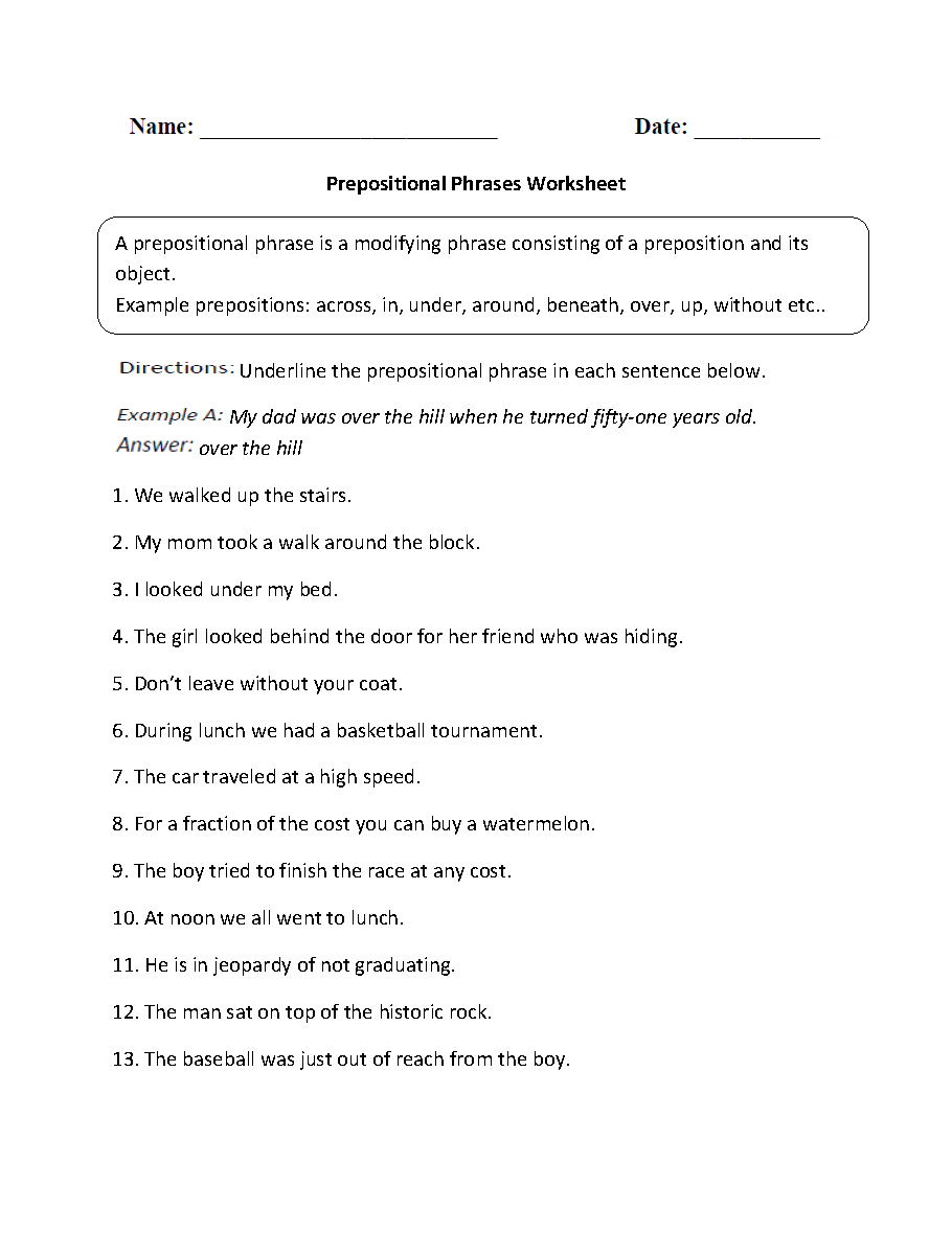 Worksheets Identifying Parts Of Speech Worksheet parts speech worksheets preposition worksheet