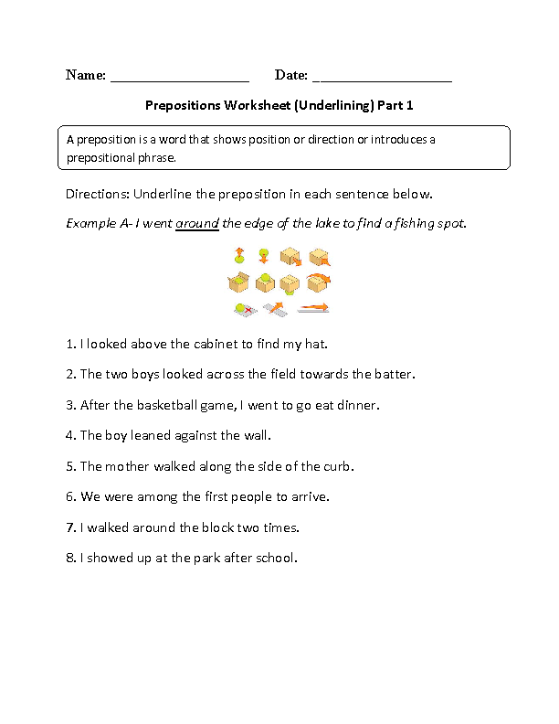 Prepositions Worksheets | Underlining Prepositions Worksheet