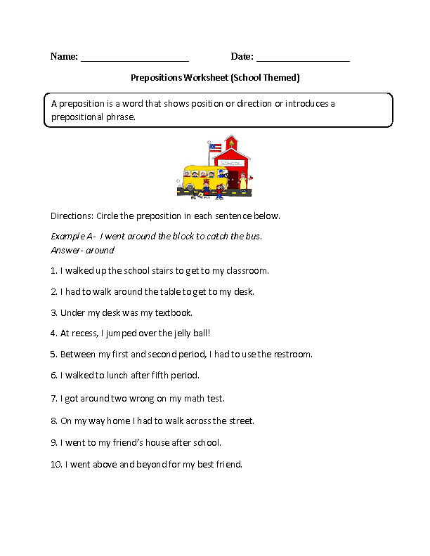 Worksheet Preposition Worksheets High School englishlinx com prepositions worksheets school themed worksheet