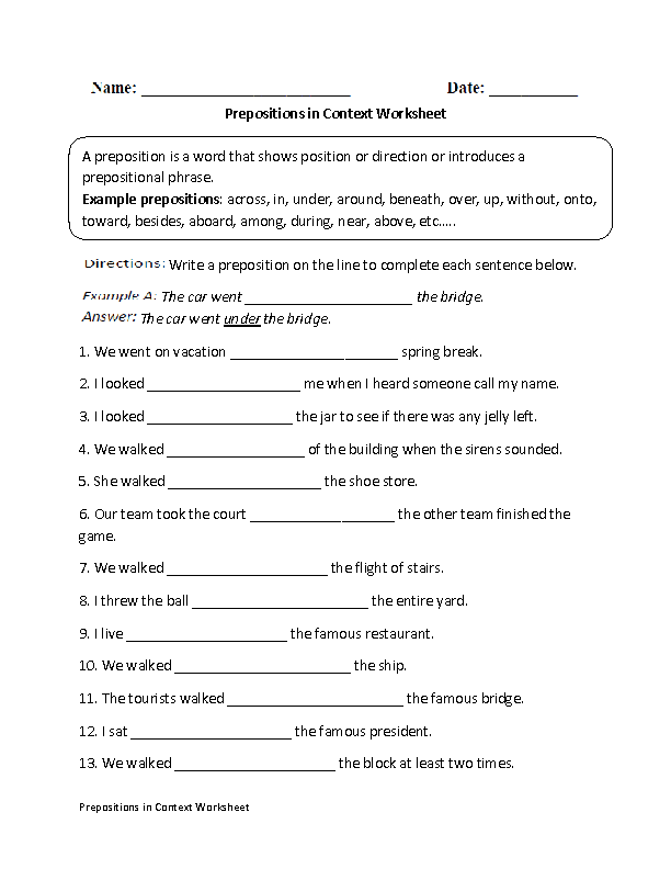 Prepositions in Context Worksheet