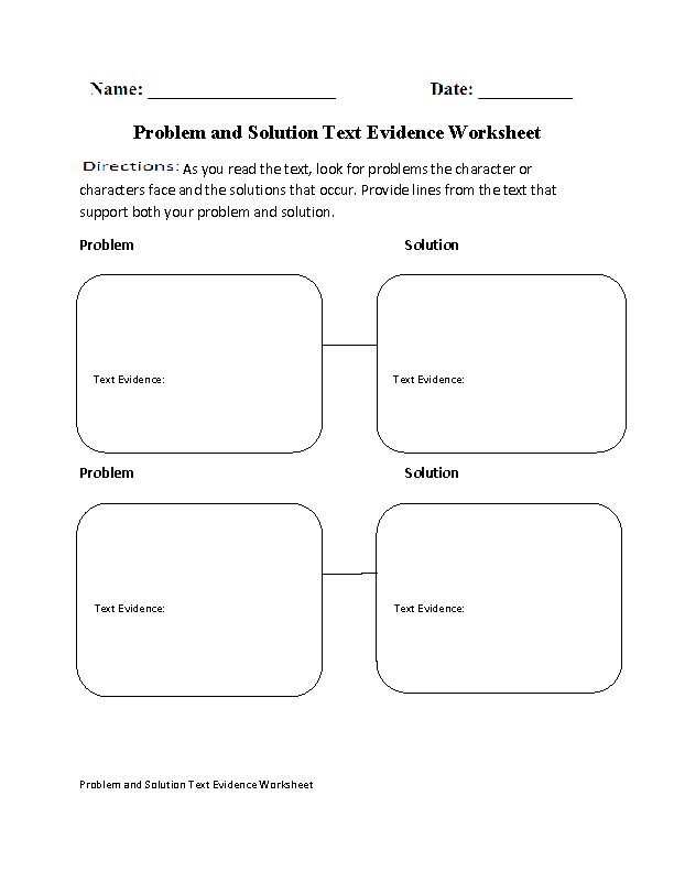 Problem and Solution Text Evidence Worksheet