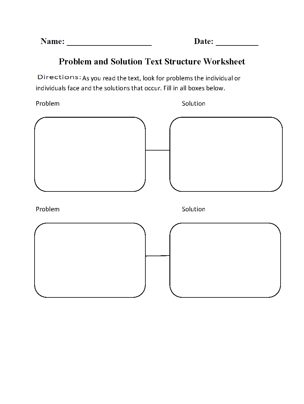 ... Structure Worksheets | Problem and Solution Text Structure Worksheets