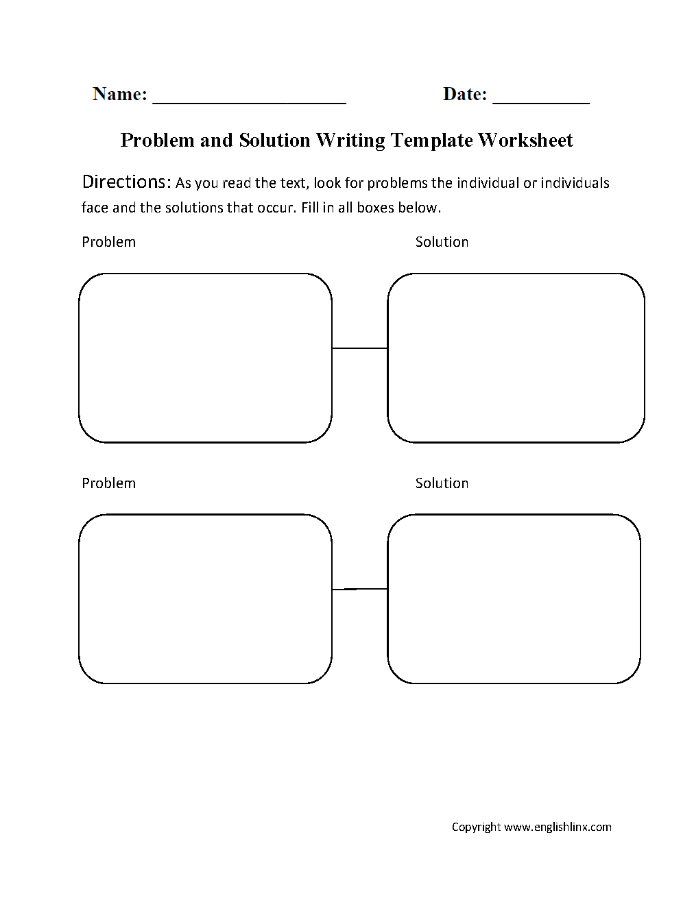 Writing Template Worksheets – Problem and Solution Worksheets