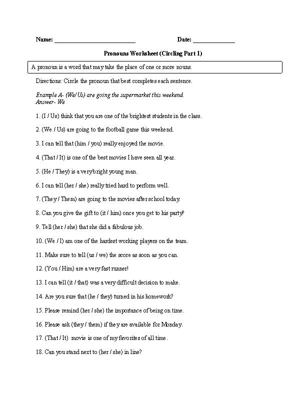 English Worksheets ninth grade english worksheets : Pronouns Worksheets   Regular Pronouns Worksheets