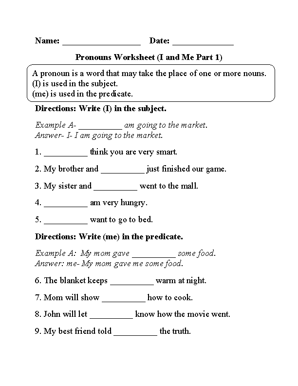 free pronoun worksheets for 3rd grade