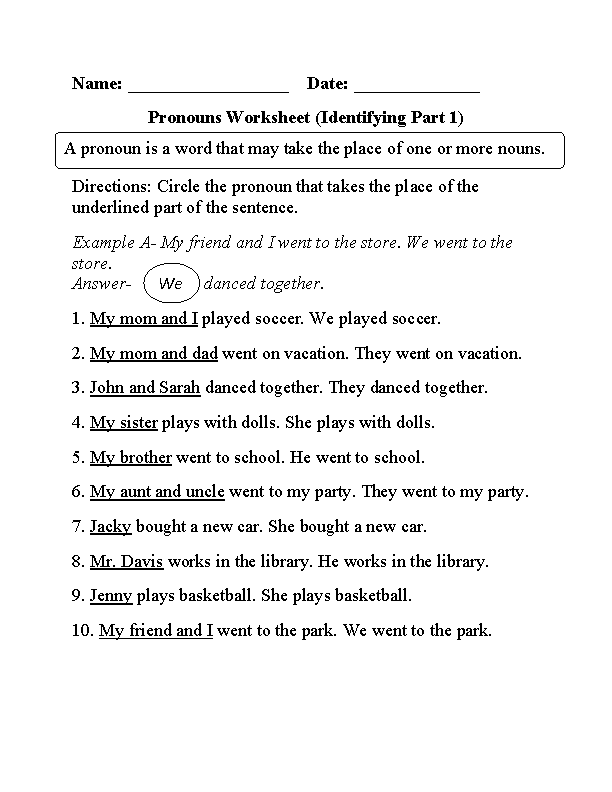 Pronouns Worksheets Regular. Pronouns Worksheet. Worksheet. Pronoun Worksheets At Mspartners.co