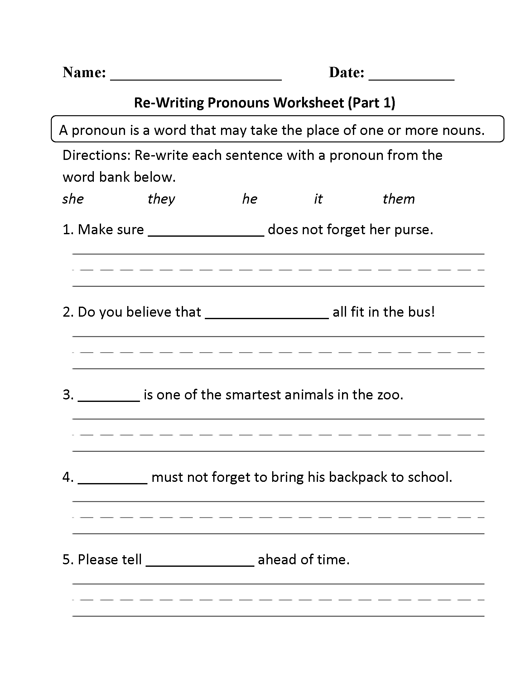 Worksheets Pronoun Worksheets 2nd Grade pronouns worksheets regular worksheet part 1