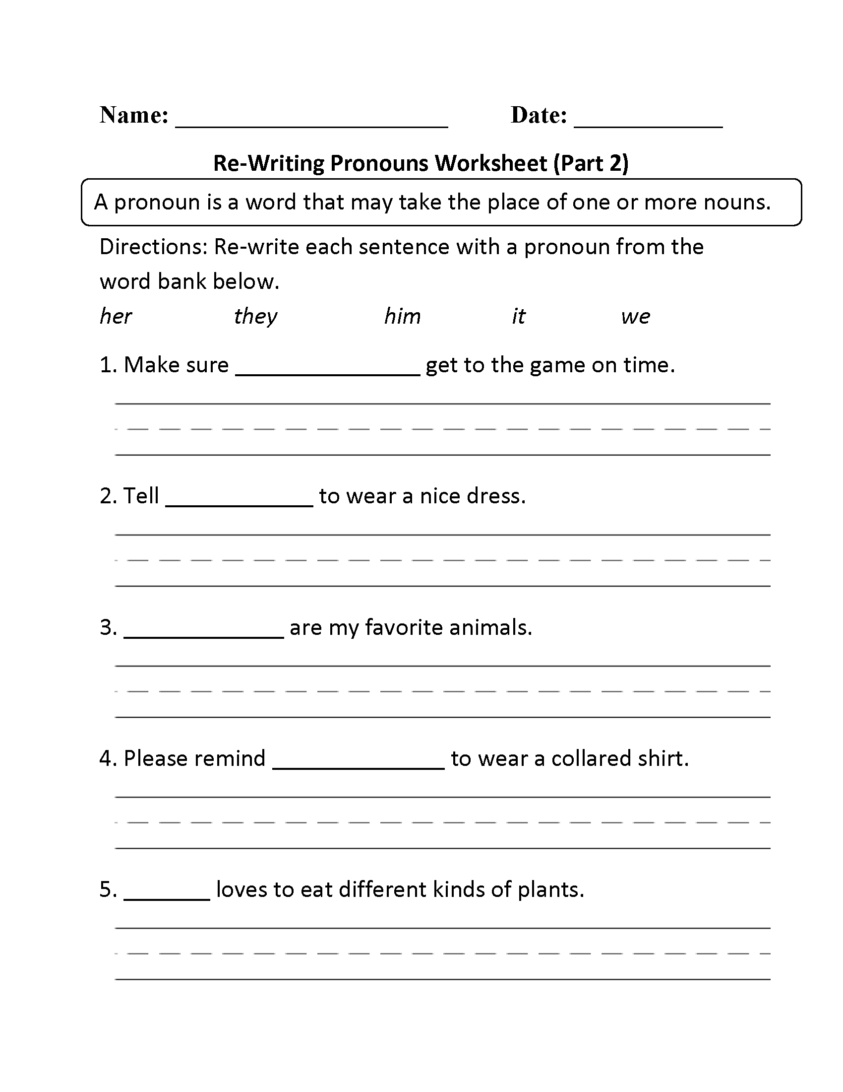 Regular Pronouns Worksheets | Re-Writing Pronouns Worksheet Part 2