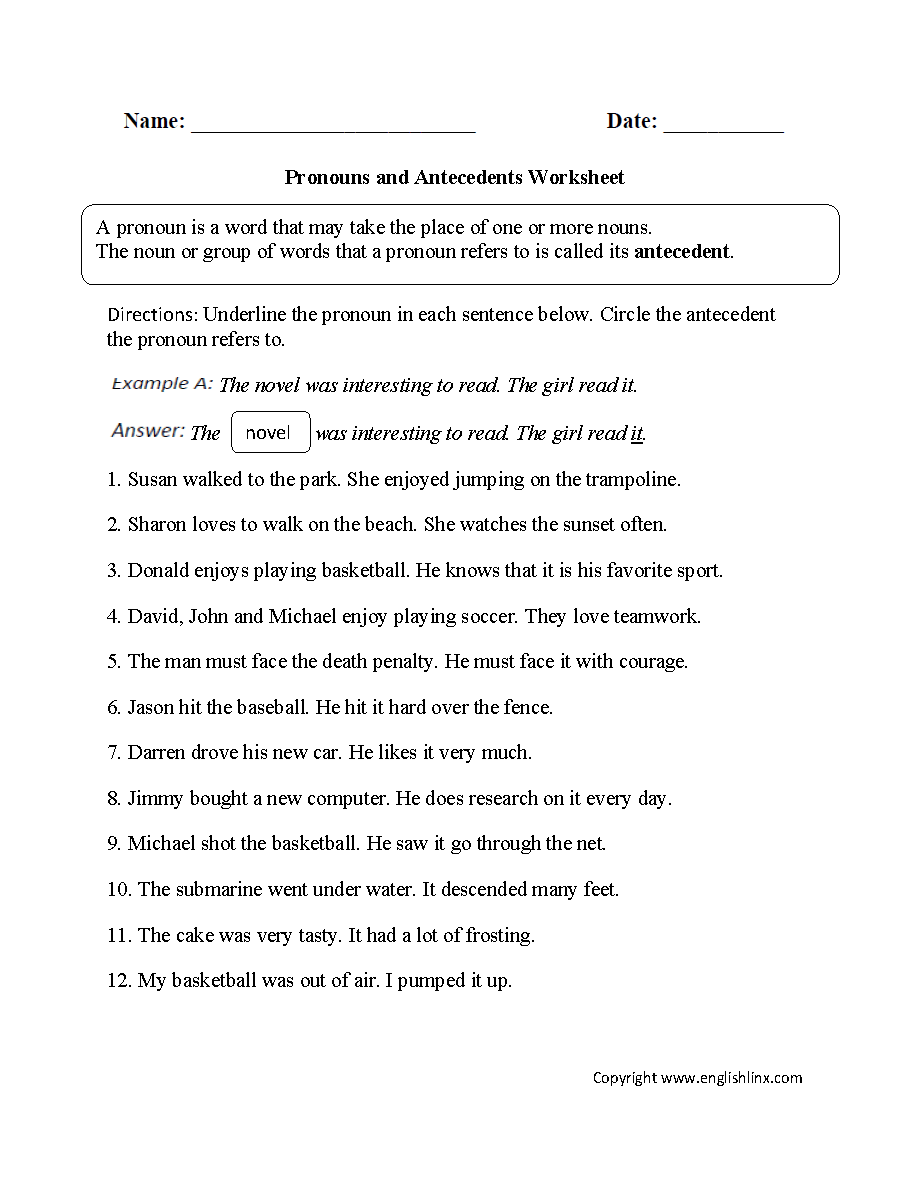 Printables Pronoun Antecedent Agreement Worksheet word usage worksheets pronoun agreement pronouns and antecedents worksheet