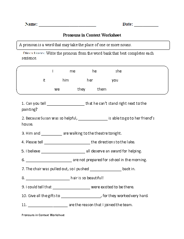 Regular Pronouns Worksheets In Context Worksheet. Pronouns In Context Worksheet. Worksheet. Pronoun Worksheets At Mspartners.co
