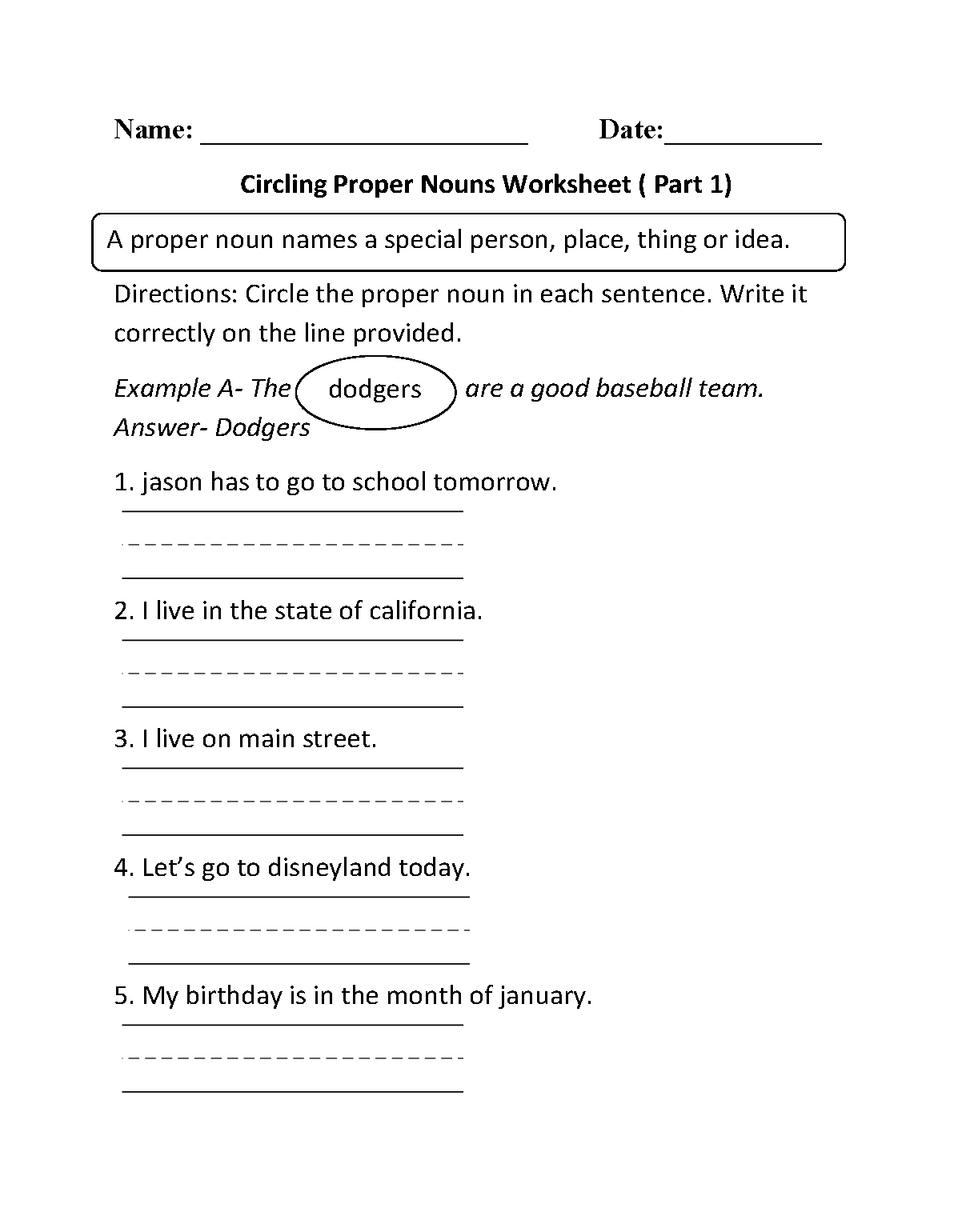 Proper and Common Nouns Worksheets – Proper and Common Nouns Worksheet