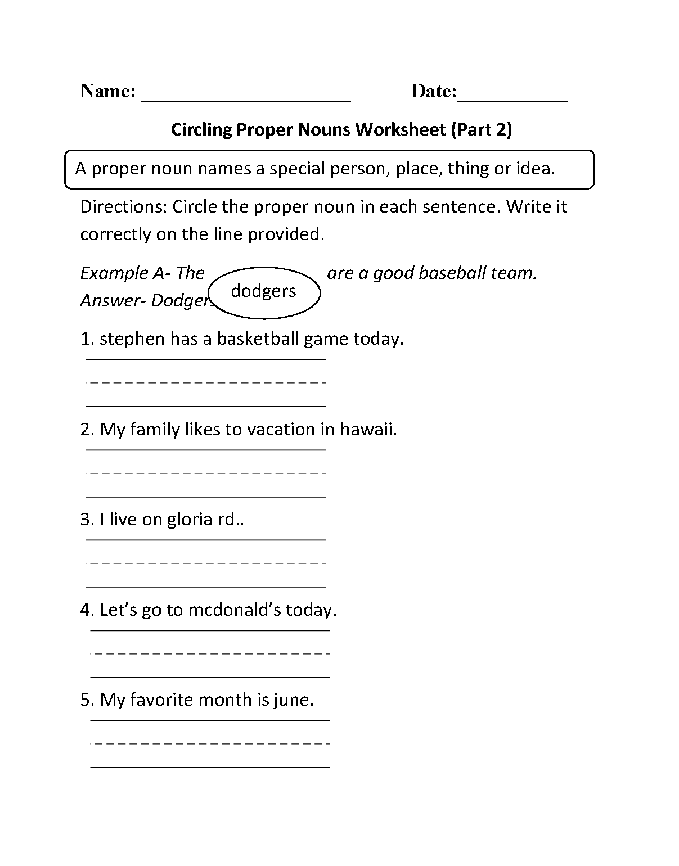 Workbooks identifying noun worksheets : Nouns Worksheets | Proper and Common Nouns Worksheets