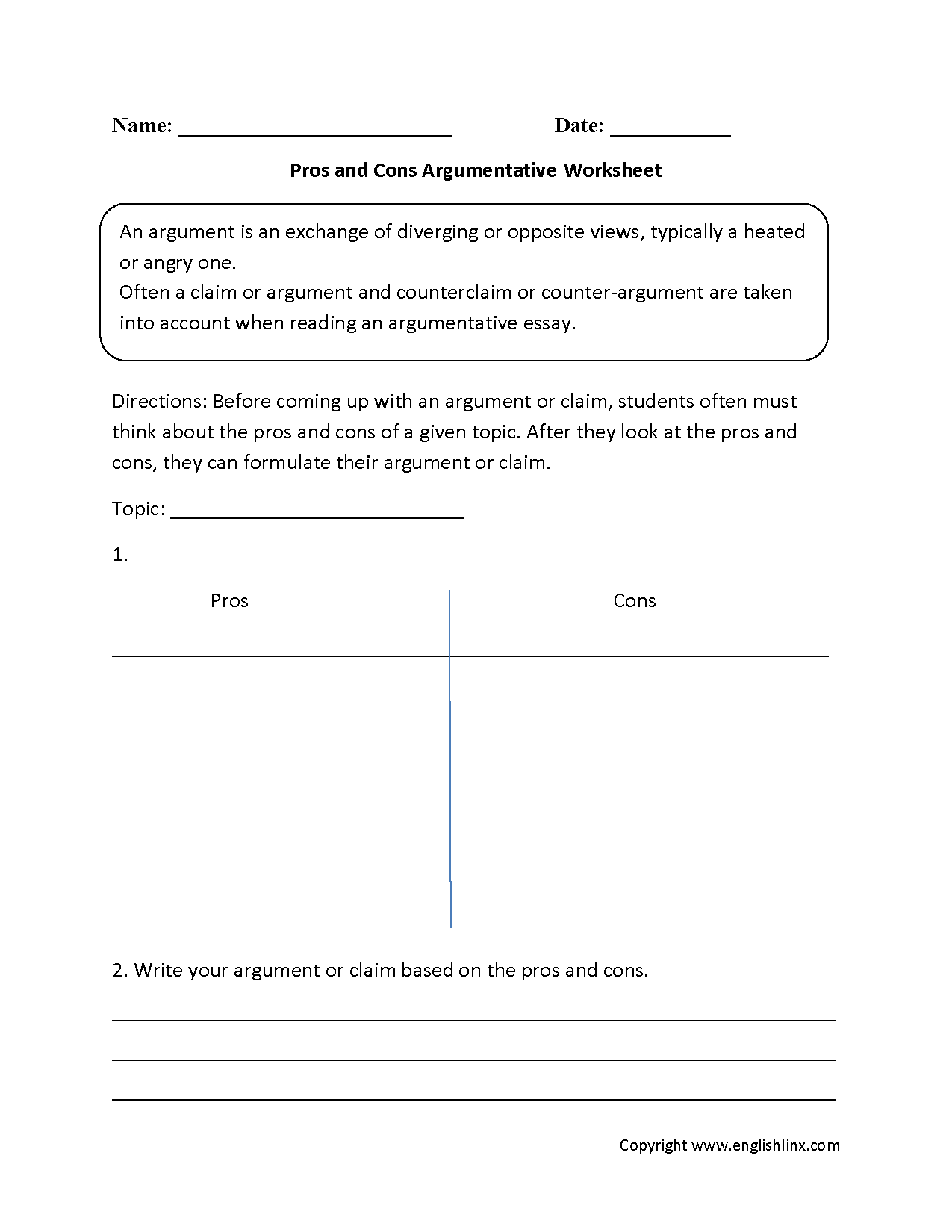 reading worksheets argumentative worksheets pros and cons argumentative worksheets