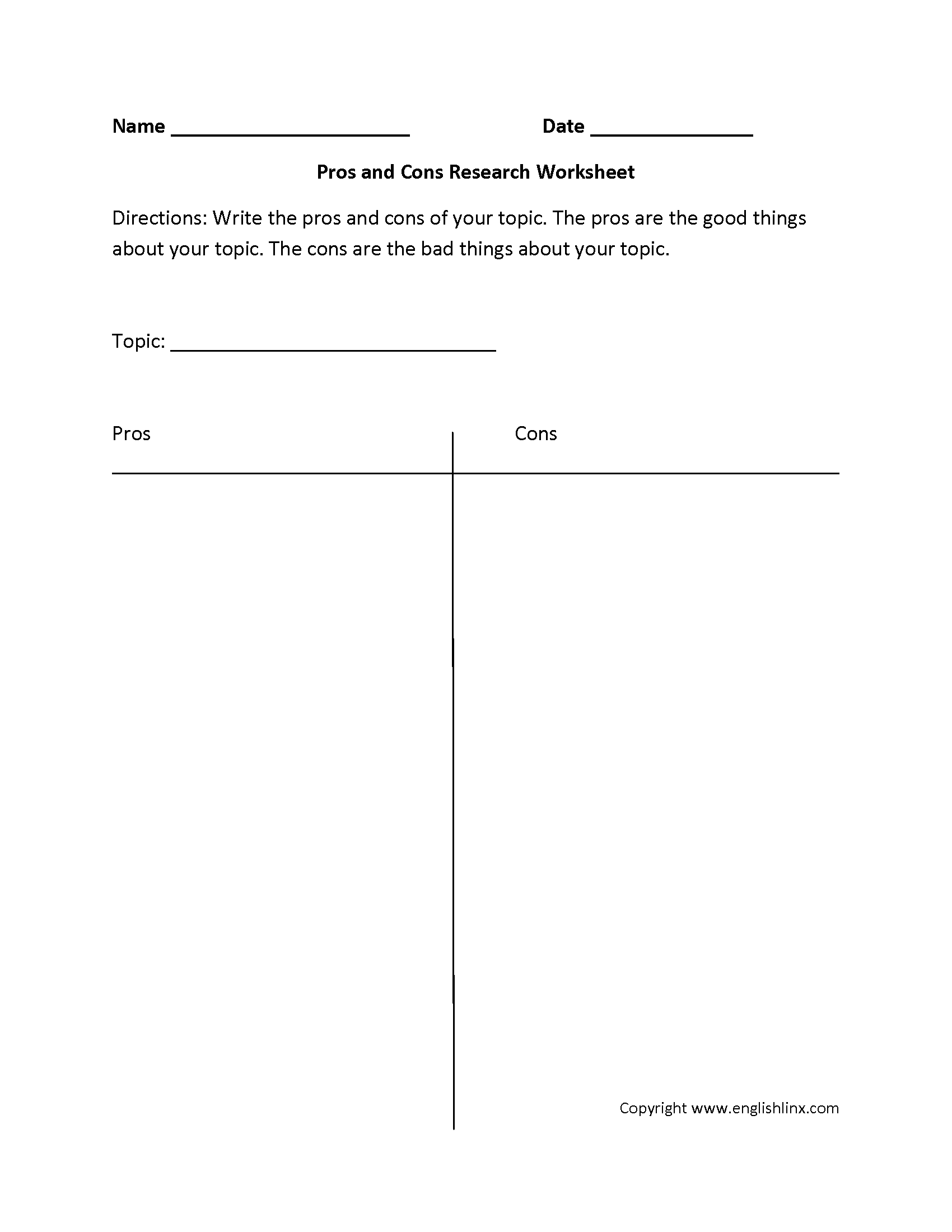 Pro Con Worksheet Demirediffusion