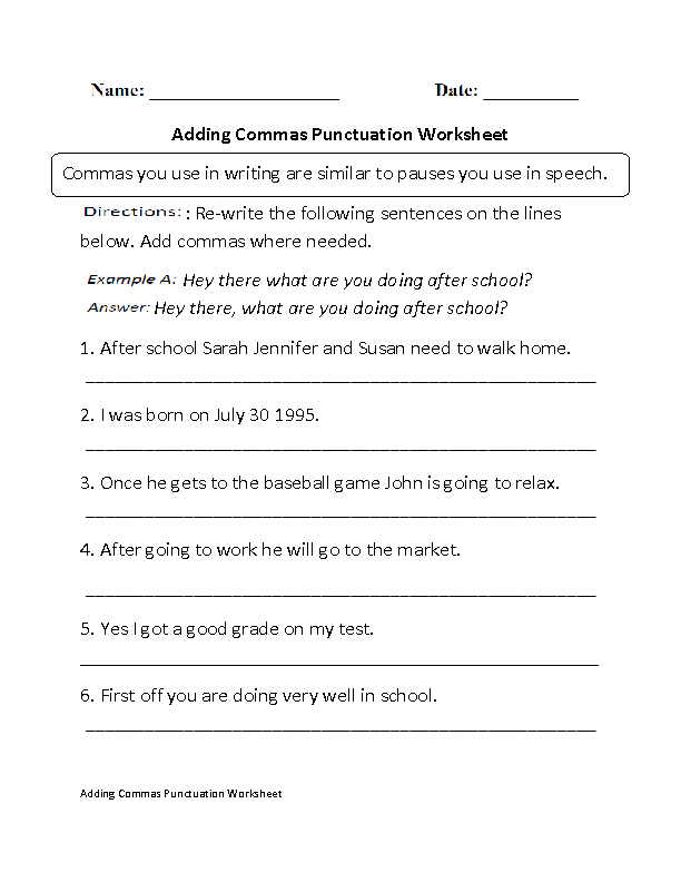 Printable Worksheets science worksheets for class 5 : Englishlinx.com | Punctuation Worksheets