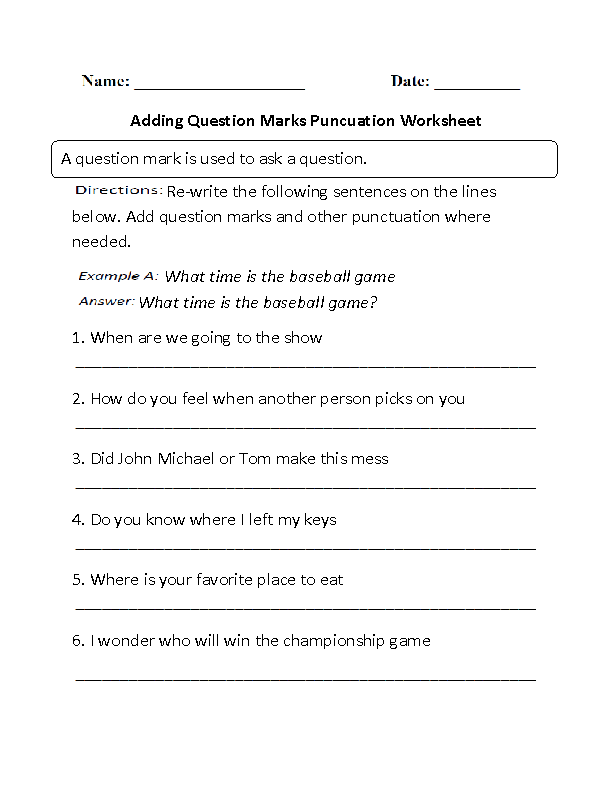 Englishlinx – Punctuation Worksheets