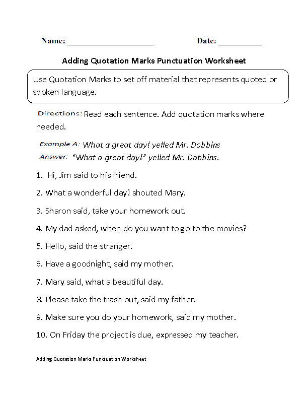 Punctuating Dialogue Worksheet Worksheets for all | Download and ...