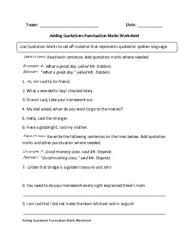 Englishlinx – Quotation Marks Worksheets