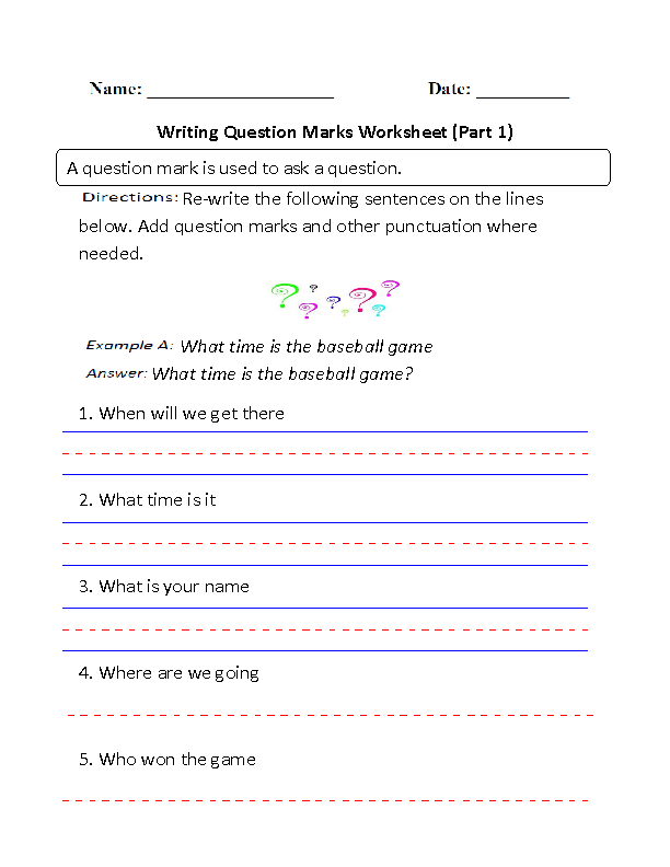Writing Marks Worksheet Part 1