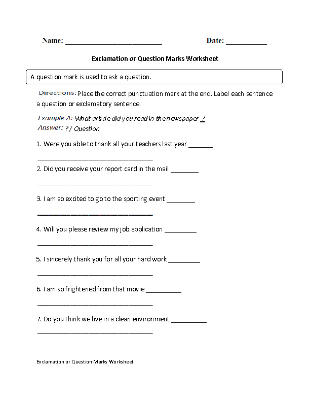 Exclamation or Question Marks Worksheet
