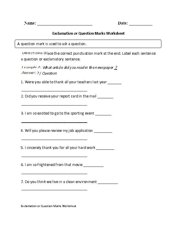 Englishlinx com | Question Marks Worksheets