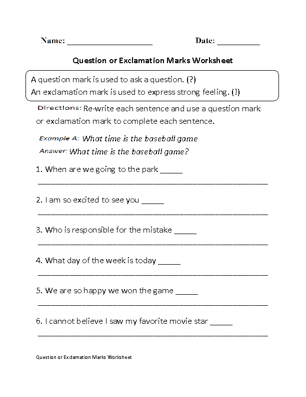 Question or Exclamation Marks Worksheet