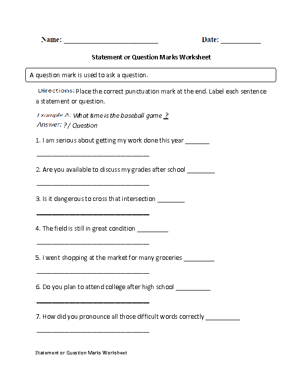 Statement or Question Marks Worksheet
