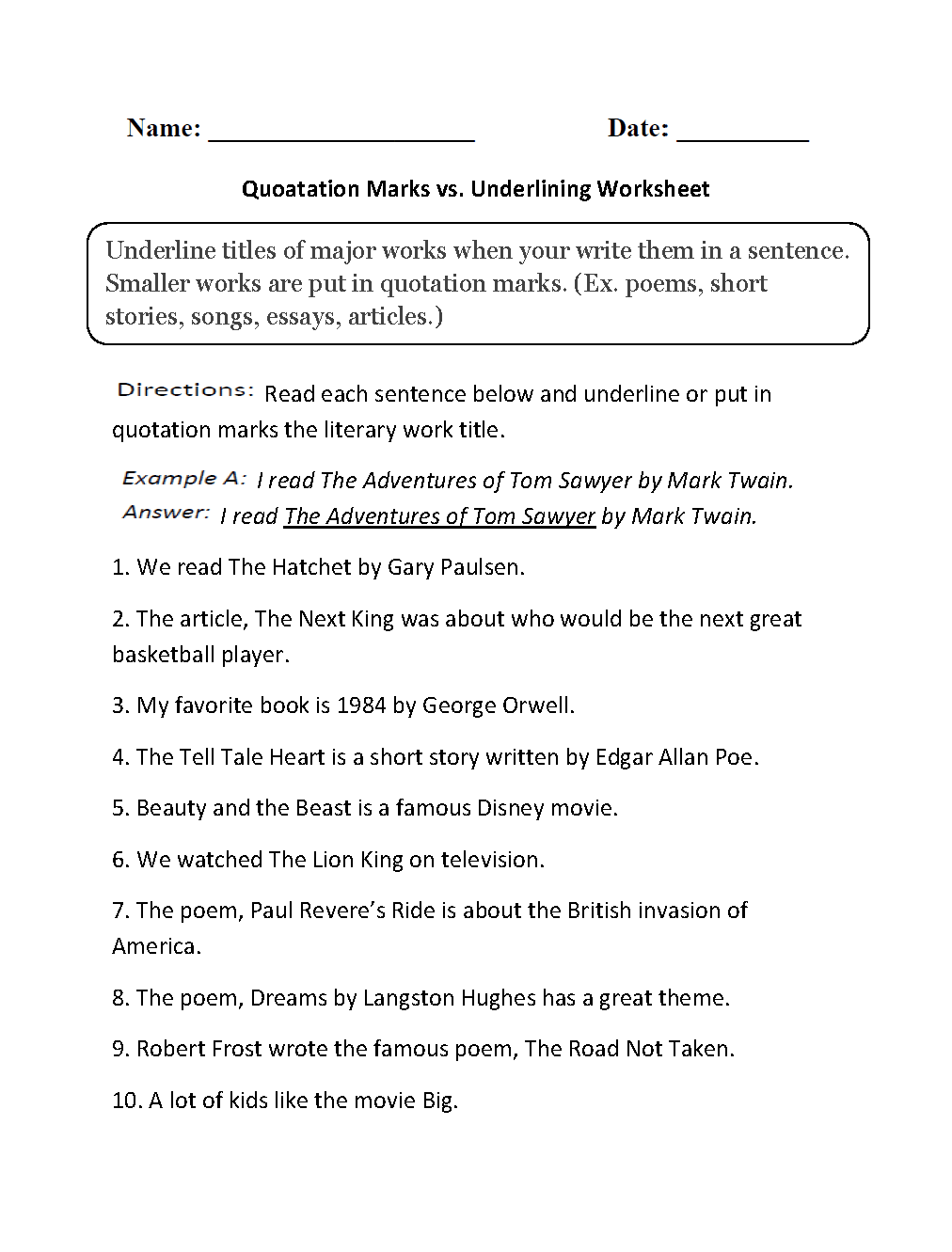 grammar mechanics worksheets italics and underlining worksheets quotation marks vs underlining worksheets