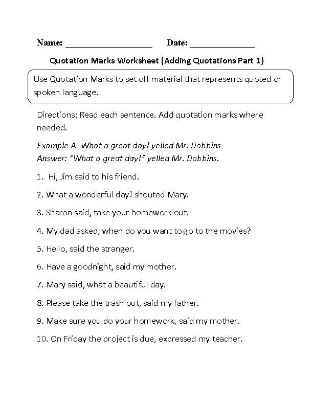 Quotation Marks Worksheets | Adding Quotation Marks Worksheet