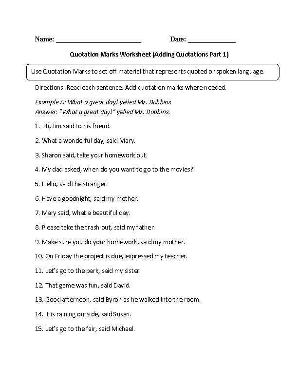 Printables Dialogue Worksheets englishlinx com quotation marks worksheets worksheet