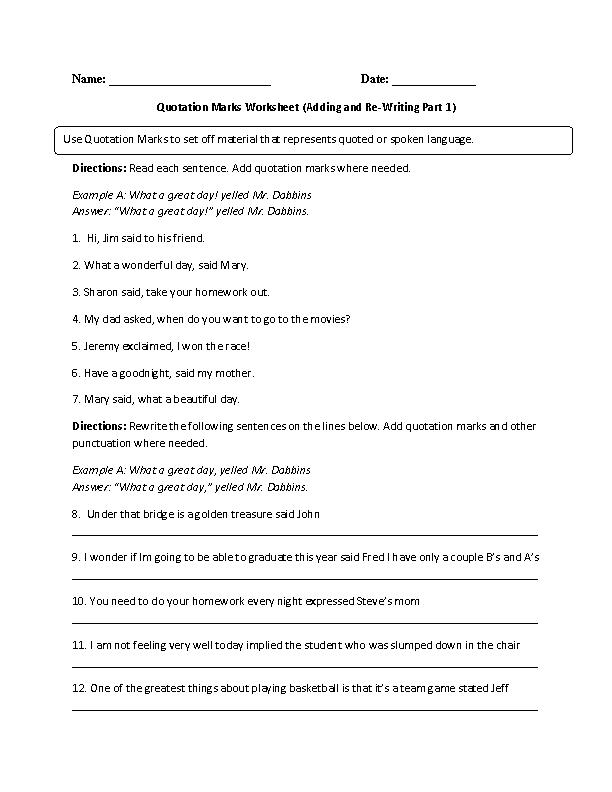 3rd Grade homework worksheets for 3rd grade : Englishlinx.com | Quotation Marks Worksheets